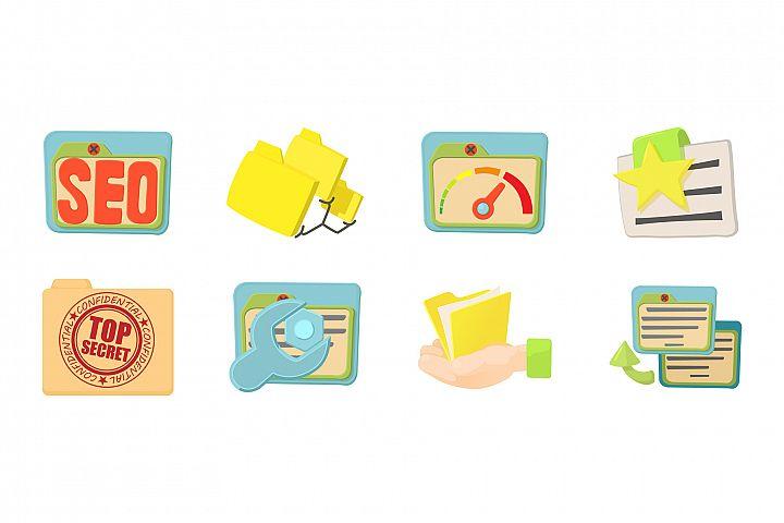 Folder icon set, cartoon style