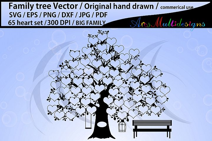 65 hearts family tree SVG, EPS, Dxf, Png, Pdf, Jpg