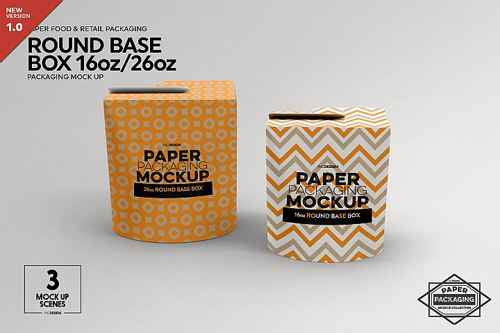 Paper Round Bottom Boxes Packaging Mockup