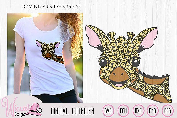 Funny Zentangle Giraffe, mandala animal svg, doodle Giraffe,