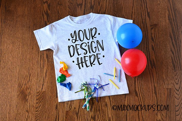 Gray kids t-shirt mockup, birthday theme