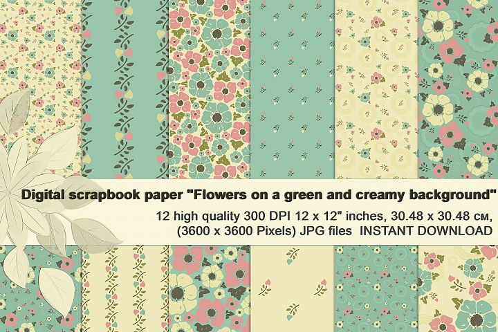 Vintage flowers on creamy and mint background, Digital paper
