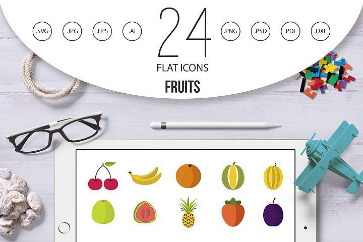 Fruits icon set, flat style