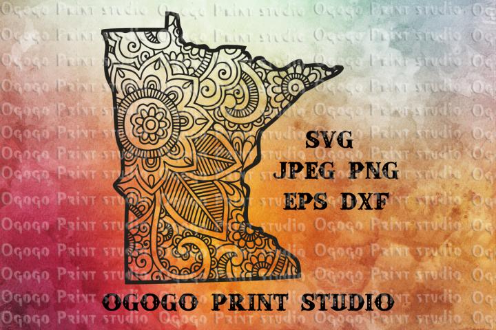 Minnesota Map SVG, Zentangle SVG, State svg, Mandala svg
