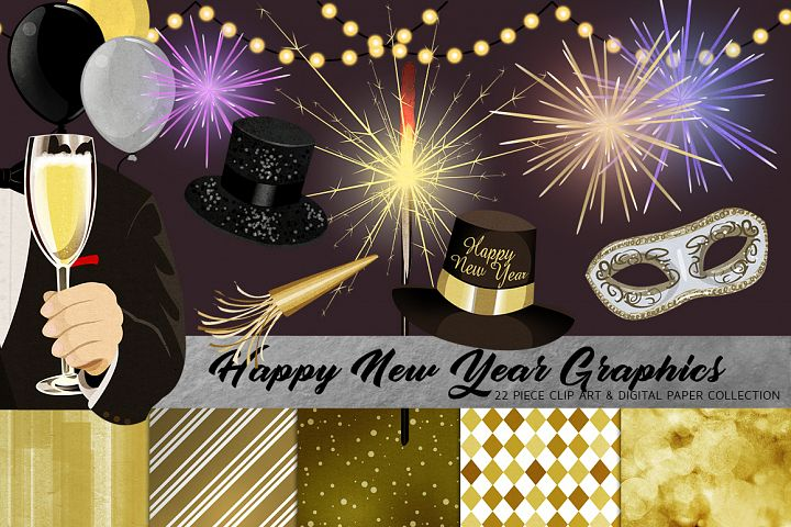 Happy New Year Clip Art Set