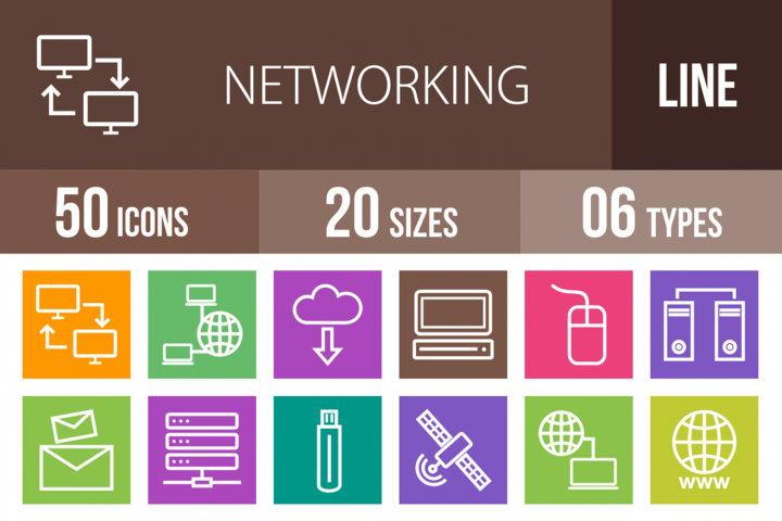 50 Networking Line Multicolor B/G Icons