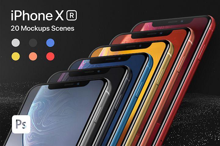 iPhone XR 20 Mockups Scenes 5K - PSD