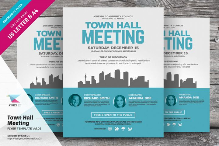 Town Hall Meeting Flyer Template Vol.02