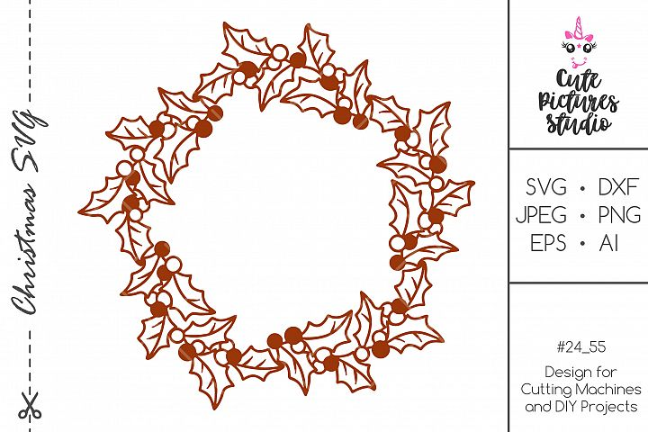 Christmas circle frame SVG DXF PNG, Monogram frame svg