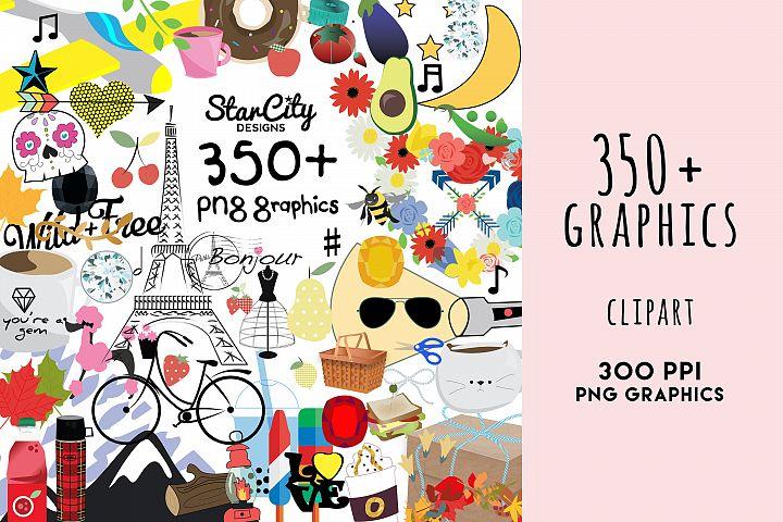 Bundle Clipart Graphics, 350 PLUS clipart png graphics