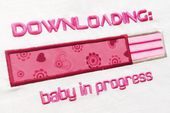 Downloading Baby Pregnancy Applique Embroidery Design