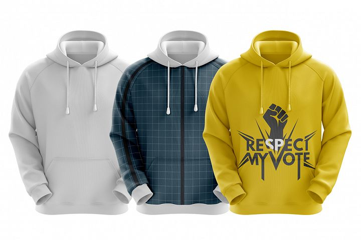 Mens Hoodie Front View HQ Mockup