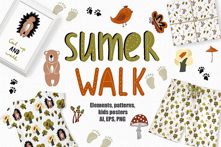 Summer Walk Kids vector clipart, vector baby nursery clipart