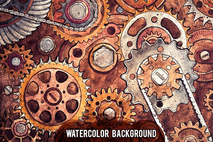 Watercolor Gears example image 6