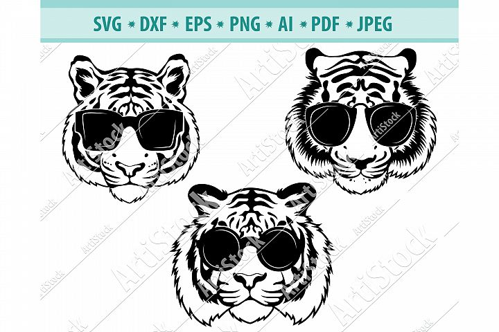 Tiger Face Svg, Tiger in sunglasses PNG, Cool tiger Eps, Dxf