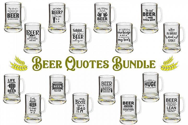 Beer Quotes Bundle - SVG, PNG, DXF, EPS
