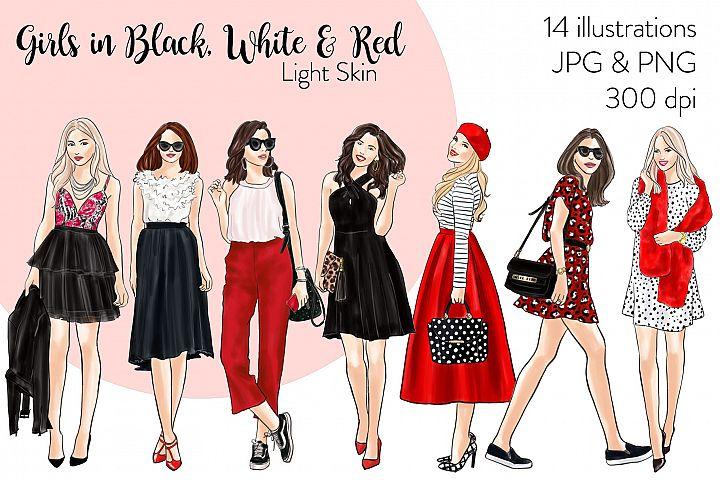 Fashion clipart - Girls in Black, White & Red - Light Skin