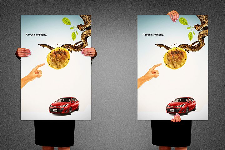 Hand Holding Poster Mockup Template