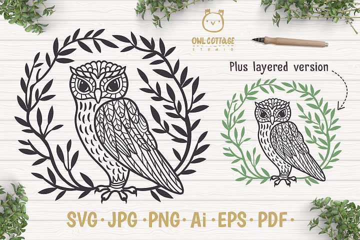 Owl in the Branches svg, Owl Zentangle svg, Owl in the Leave