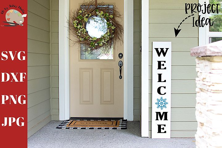 Welcome Snowflake Front Porch Wood Sign svg, home decor svg