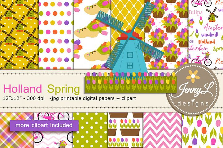 Holland Spring Netherlands Digital Papers and Clipart