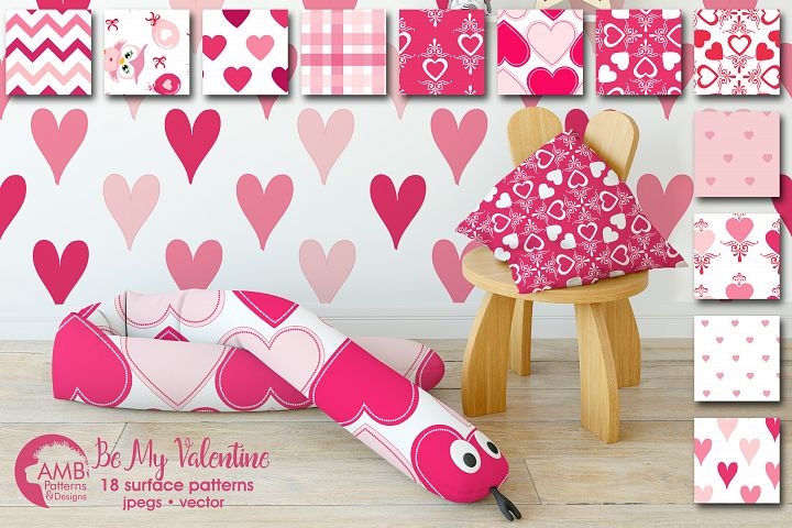 Be my Valentine pattern, papers, surface design AMB-1166