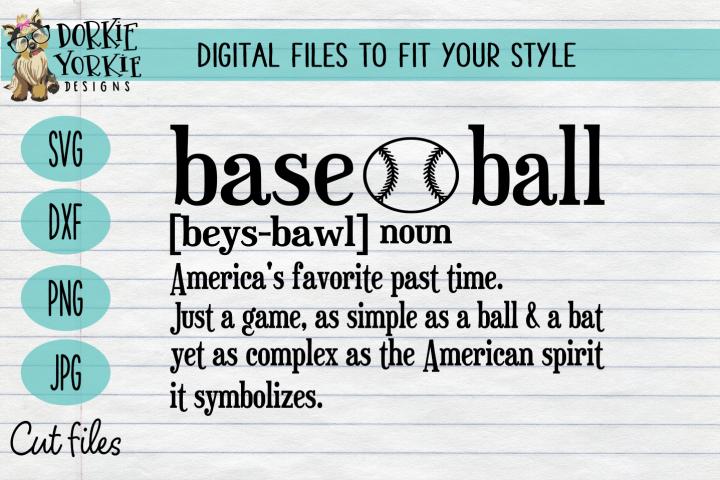 Baseball Definition - Past time Favorite - SVG cut file