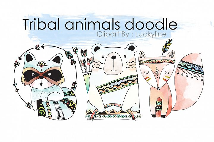 Tribal animals doodle clipart