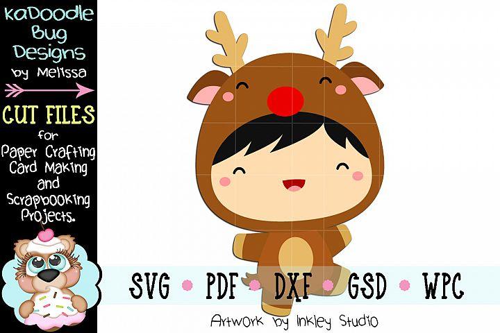 Christmas Reindeer Kid Cut File - SVG PDF DXF GSD WPC