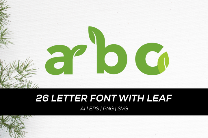 26 letter font with leaf