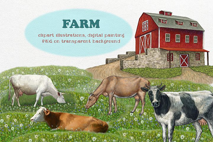 Farm. Cows clipart, Illustrations