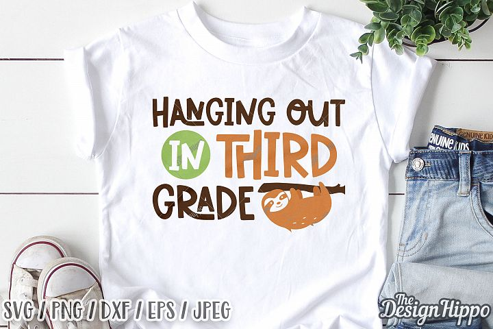 Hanging Out In Third Grade, 3rd Grade Teacher SVG DXF PNG