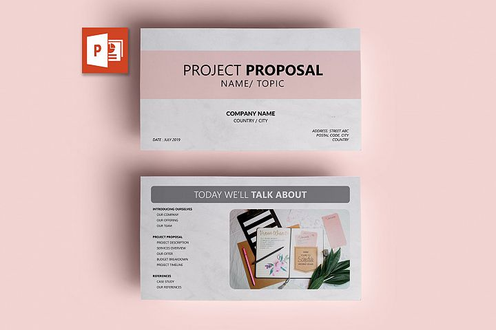 PPT Template | Project Proposal - Pink and Marble