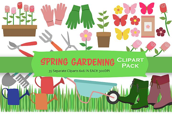 Spring Gardening Clipart Pack