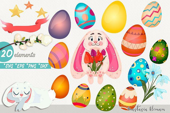 Easter egg hunt with cute bunny vector clipart eps png svg