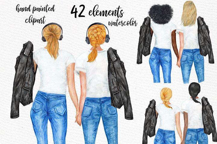 Watercolor Planner Girls Clipart, Besties clipart, BFF Art