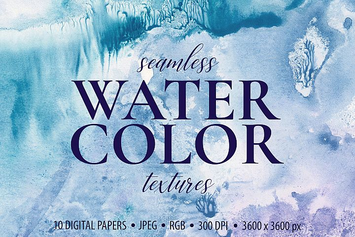 Seamless Watercolor Textures - 10 Watercolour Backgrounds