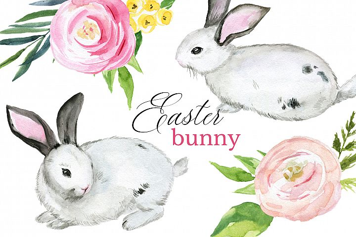 Bunny Easter watercolor clipart set