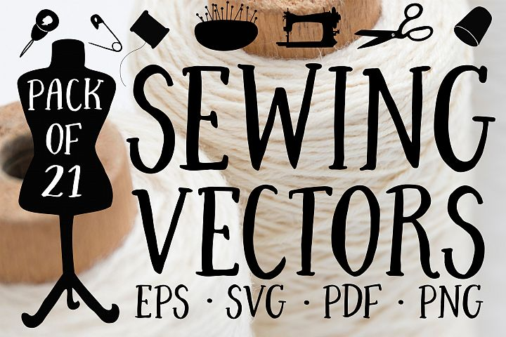 Sewing Silhouettes Vector Pack
