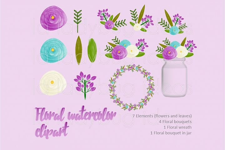 Purple and turquoise floral watercolor clip art collection.