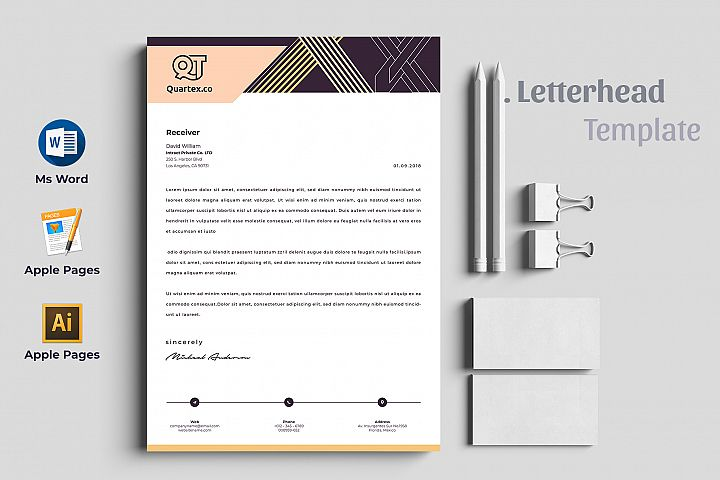 Letterhead Pad Template with Ms Word & Mac Pages