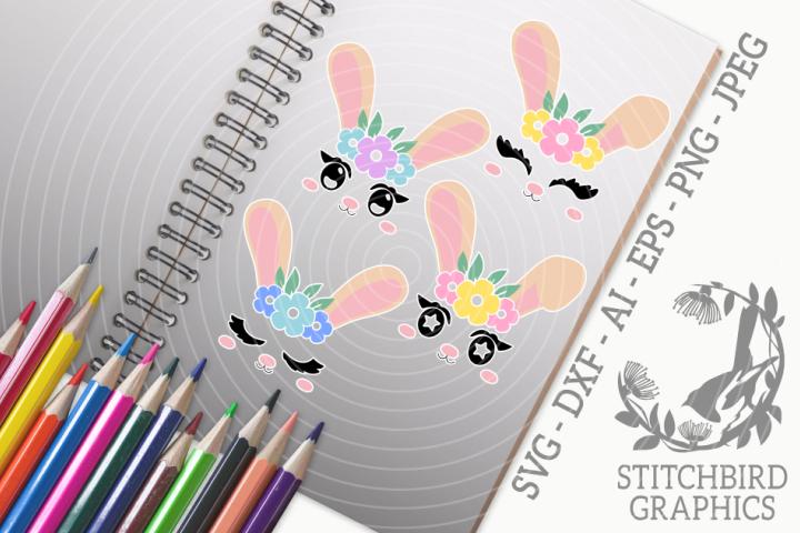 Bunny Rabbit Faces Bundle SVG, Silhouette Studio, Cricut