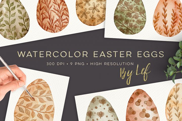 Watercolor Easter Eggs graphics clipart