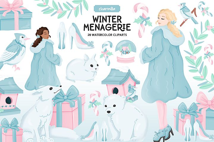 Winter Animals Watercolor Clipart
