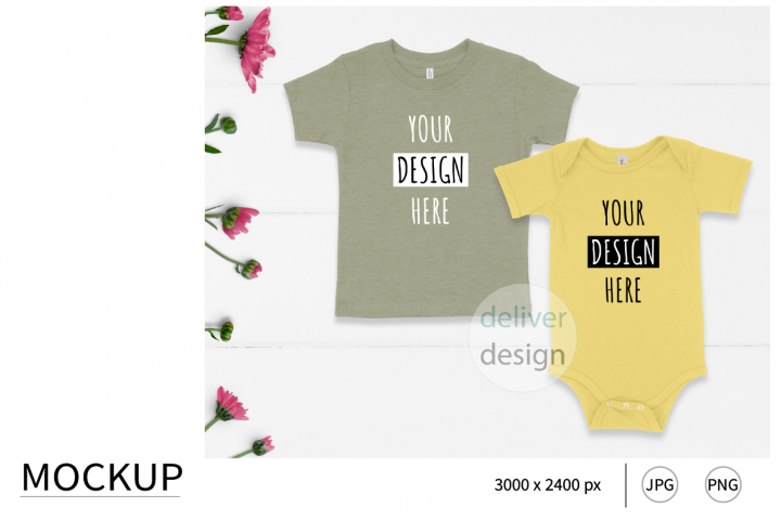 Sibling Outfit Mockup. Bella Canvas. Yellow. Heather Stone