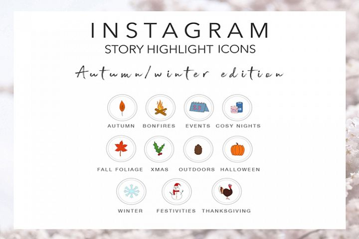 Autumn Fall Winter Instagram Story Highlight Icons in Colour