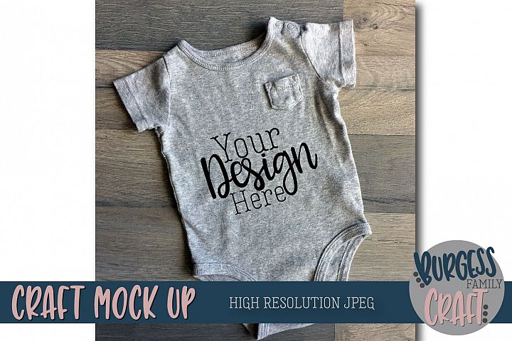 Baby bodysuit angled Craft Mock up | High Resolution JPEG