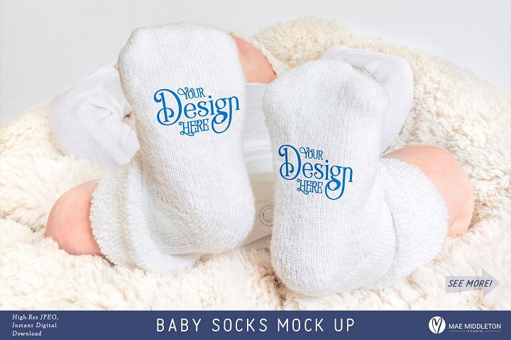 Baby Socks Mock up, styled photo