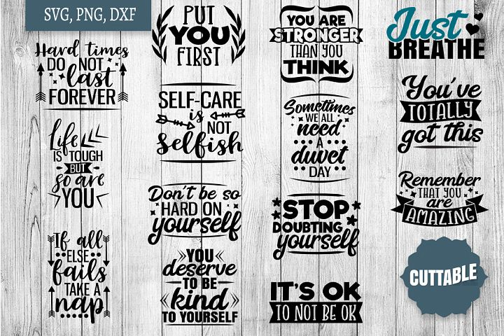 Self Care SVG bundle, Motivational selfcare quote cut files