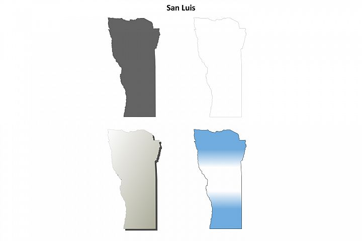 San Luis blank outline map set